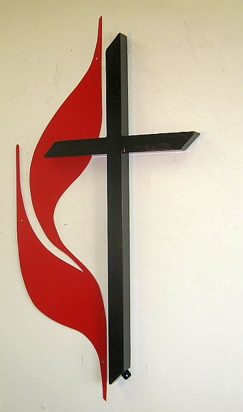 United Methodist Cross & Flame logo design, United Methodist Cross & Flame sculpture, United Methodist cross and flame indoor/outdoor sign logo,
