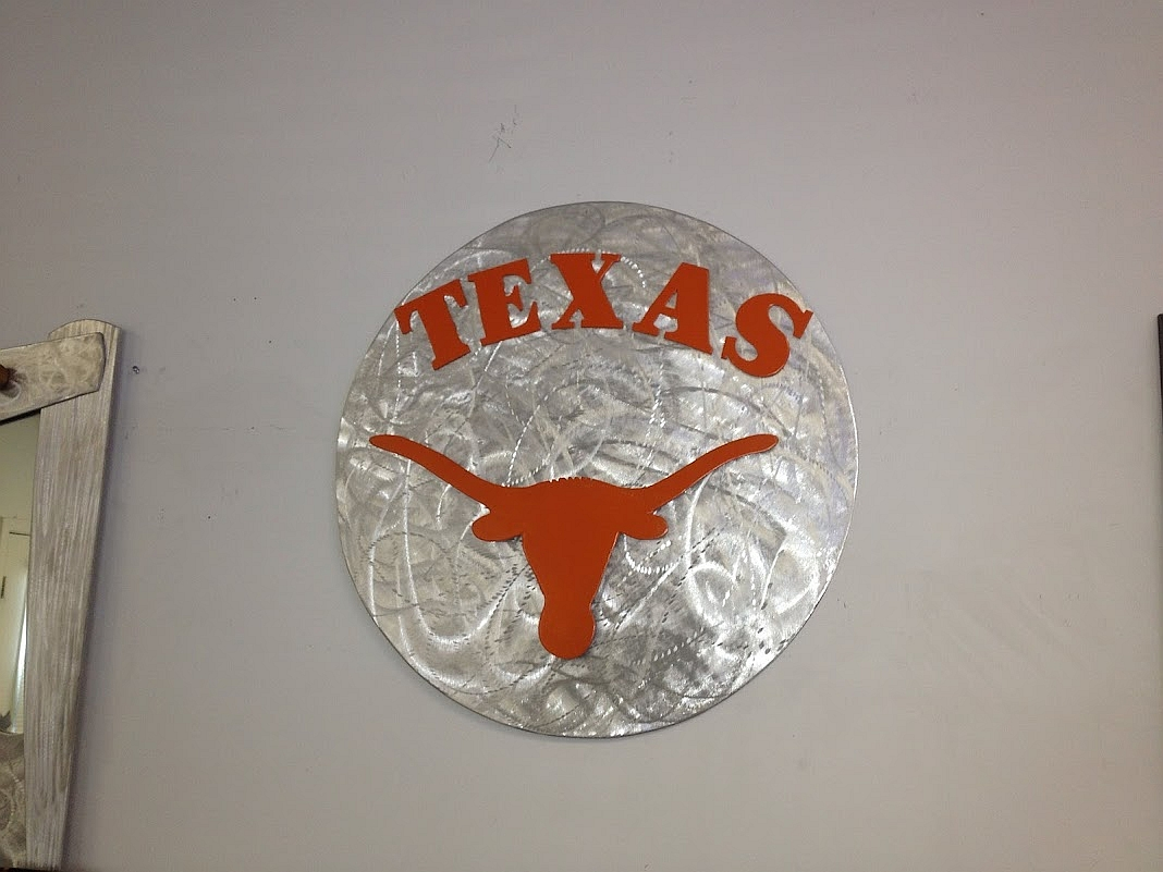 texas longhorns art sculpture.texas longhorns logo sign im brushed aluminum