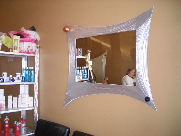 mirror in brushed aluminum for hair salon