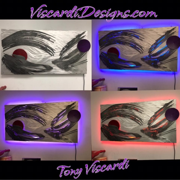color changing wall art sculpture