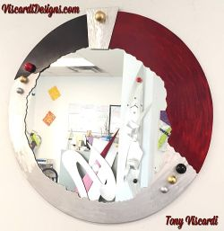mirror,contemporary mirror,abstract mirror with burgandy color abstarct mirror style
