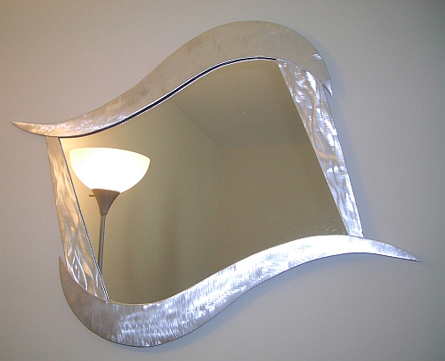 abstract mirror in aluminum, contemporary mirror, mirror, modern mirror, abstract mirror, art deco mirror, fancy mirror,