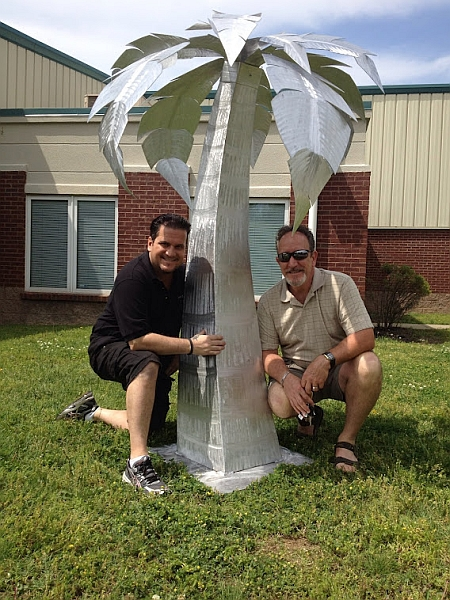 palm tree sculpture in brushed aluminum  outdoor palm tree and aluminum palm trees