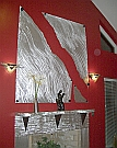 fireplace designed in aluminum and metal