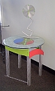 aluminum end table in contemporary abstract design in contemporary colors