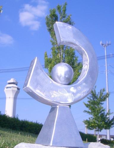 Outdoor Sculptures In Brushed Aluminum