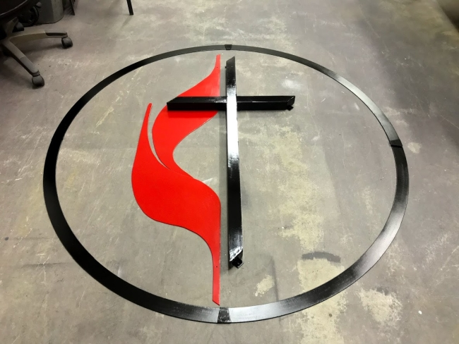 UMC cross and flame design with united methodist cross and flames logo sign