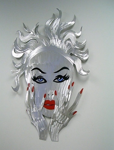 woman sculpture in erotic woman style, aluminum woman sculpture of face and bright red lips