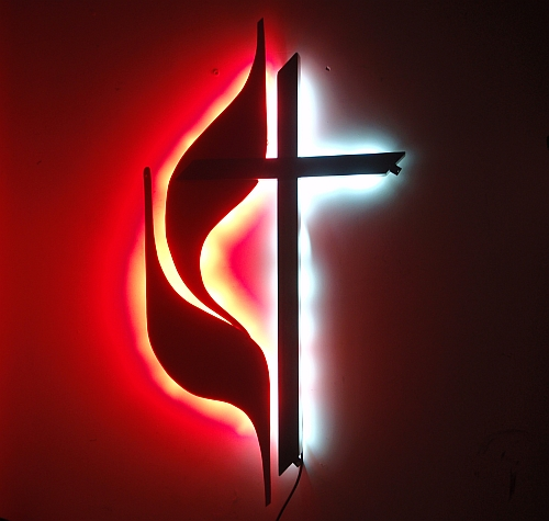 Backlit UMC Cross & Flames, UMC Cross and flames, viscardi designs, tony viscardi