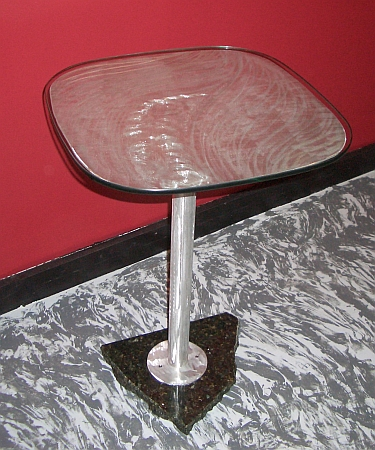 end table in brushed aluminum and granite base