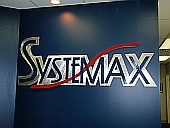 Custom sign and abstract sign, brushed aluminum sign,systemmax sign in brushed aluminum