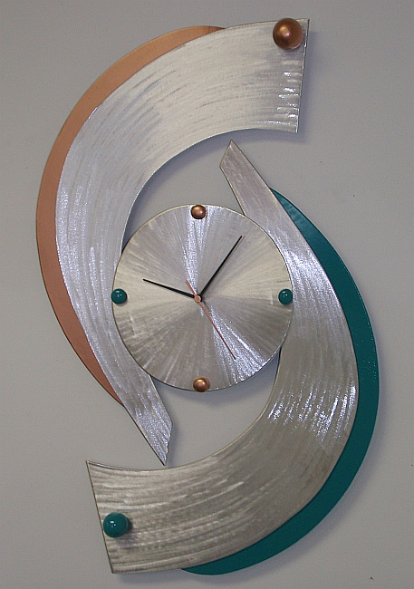 clock and clocks in aluminum and metal clock by artist tony viscardi