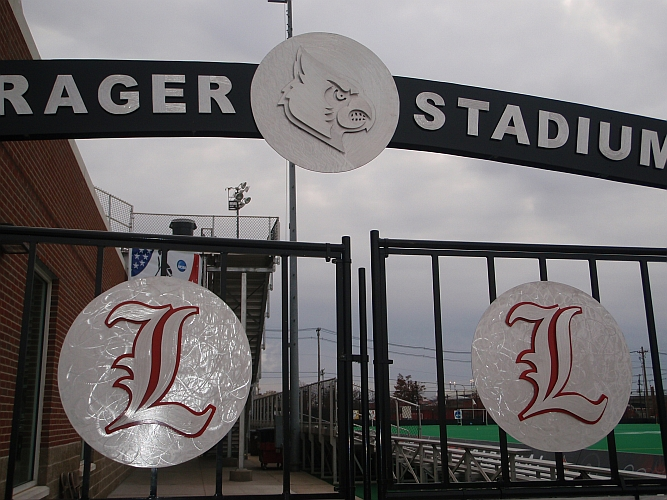 university of louisville logo and gates at trager field at University of Louisville