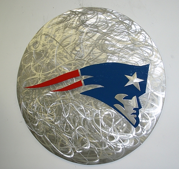 new england patriots logo sign in brushed aluminum