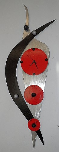 abstract contemporary clock design by tony viscardi  abstract clock in brushed aluminum and