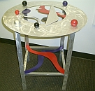 dining table, dining table in abstract design and contemporary colors, abstract dining table