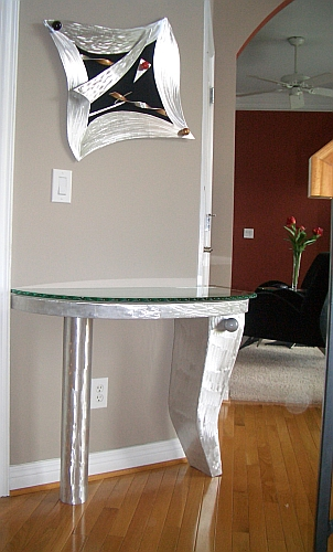 Foyer table in contempoary design,brushed aluminum end table