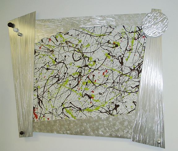wall art, splatter painting, metal wal art,