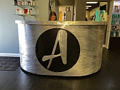 salon front desk with sign, salon remodel, viscardi designs,