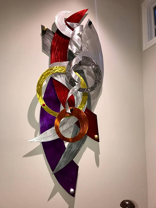 8ft contemporary wall sculpture in contemporary sculpture colors.