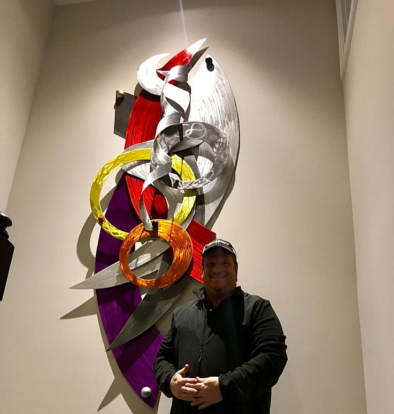 modern wall art sculpture with contemporary colors