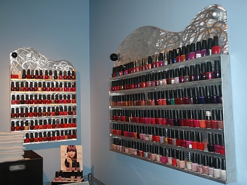 beauty salon shelfs, nail salon shelfs for nail polish