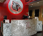 Louisville custom desk,Louisville cards front desk, university of louisville tennis center desk and sign in neon